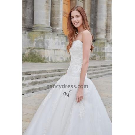 robe mariage simple blanc cassé bustier en