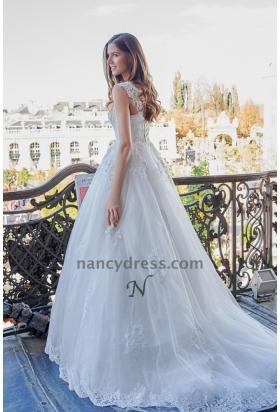 Robe de mariage blanche bretelles avec petite traîne