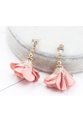 Boucles d'oreilles fleur pendante rose